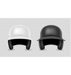 realistic classic baseball helmet set - black and vector image
