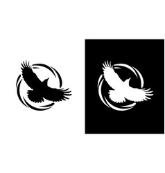 round logos with raven in black and white vector image