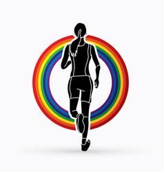 Runners sprinting marathon running vector
