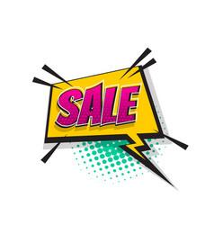 Sale pop art comic book text super hero vector