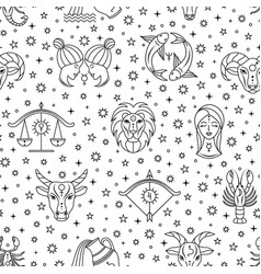 seamless pattern with zodiac signs vector image