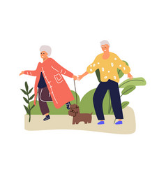 senior couple walks in park with dog cartoon vector image