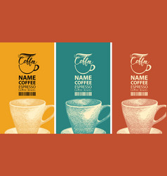 set coffee labels with cup and barcode vector image