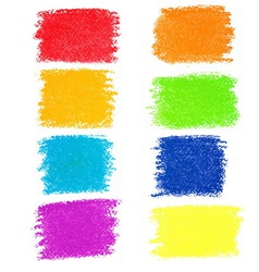 Set of rainbow pastel crayon spots isolated vector