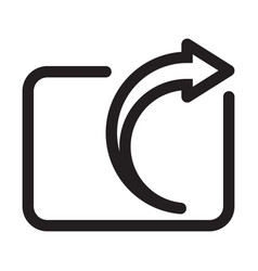 Share export icon with arrow line art for apps vector