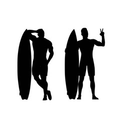 Silhouettes surfers vector