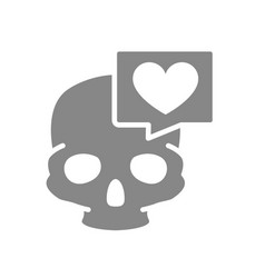 skull with heart in speech bubble grey icon bone vector image