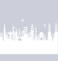 skyline landmarks air balloon and airplane vector image
