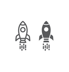 spaceship line and glyph icon shuttle and cosmos vector image