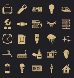 Spare fuel icons set simple style vector
