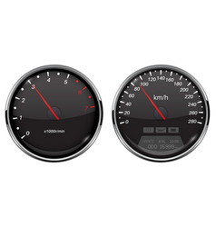 speedometer and tachometer black car dashboard vector image