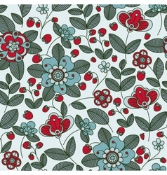 strawberry berries and flowers seamless pattern vector image
