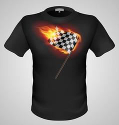 t shirts Black Fire Print man 15 vector image