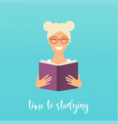 Time to studying girl reading a book flat design vector