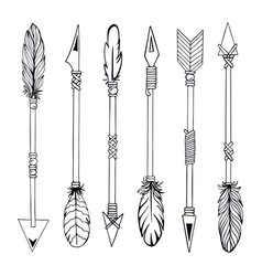 tribal indian arrow set ethnic hand drawn vector image