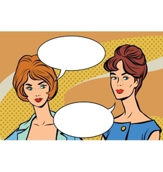 Two girlfriends retro women pop art vector