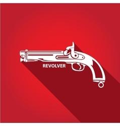 Vintage pistol gun icon vector
