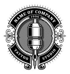 Vintage tattoo studio emblem 1 for white vector