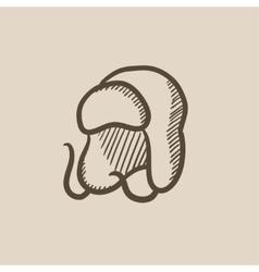 Warm fur cap sketch icon vector image