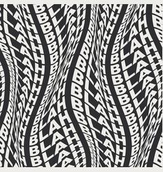 Warped words wavy type bold 60s seamless pattern vector