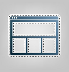 web window sign blue icon with outline vector image