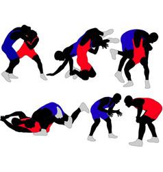 Wrestlers vector