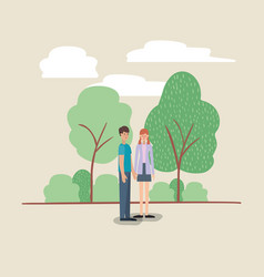 young couple walking on the park vector image