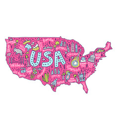 cartoon map of usa vector image