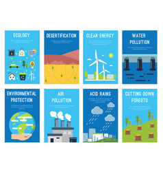 concept infographic cards at ecology theme eco vector image vector image