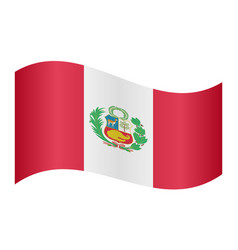flag of peru waving on white background vector image vector image