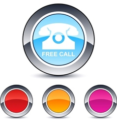 free call round button vector image vector image