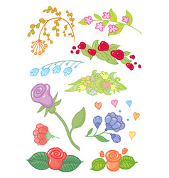 hand drawing flowers vector image vector image