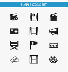 set of 12 editable filming icons includes symbols vector image vector image