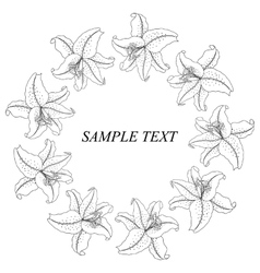 Vintage floral frame with lilies vector image