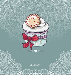 Vintage invitation card with a cupcake vector image
