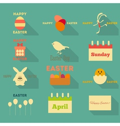 Easter Icons Collection vector image