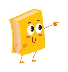 Funny book character pointing to something with vector image vector image