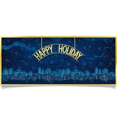 Happy holiday design with gold signboard vector