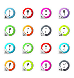 Lock and key icons set vector
