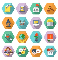 Modern Flat Education Icons in Hexagons vector image vector image
