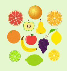 set of colorful cartoon fruit icons whole and vector image vector image