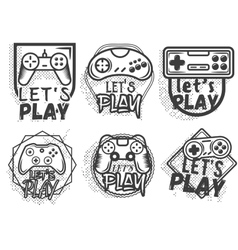 set of video game play joystick in vintage vector image