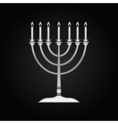 Silver Hanukkah menorah icon on black background vector image