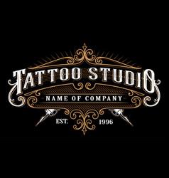 vintage tattoo studio emblem 2 for dark background vector image vector image