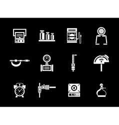 White glyph measurement equipment icons set vector image