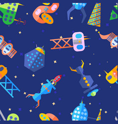 bright extraterrestrial future city pattern in vector image
