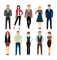 Casual office people icons set vector