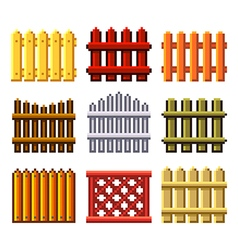Pixel fences for games icons set vector image vector image