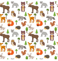 seamless pattern with cute forest animals and vector image vector image