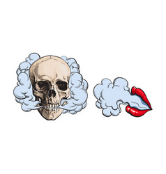 Smoke coming out of skull and lips with red vector